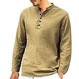 Knopfleiste Langarmshirt Herren Briskorry Männer Casual Slim Fit Longsleeve V-Ausschnitt Langarm T-Shirt Basic Sweatshirt