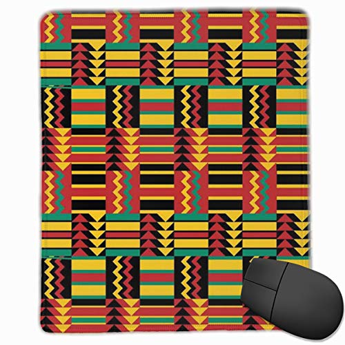 Mouse Mat Stitched Edges, Ethnic Pattern With Stripes Triangles And Zigzags Uganda Zimbabwe Nigeria,Gaming Mouse Pad Non-Slip Rubber Base - 48 Triangle Form