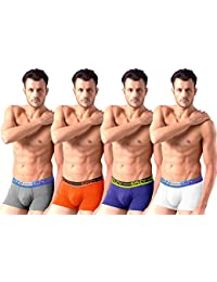 Sirtex Eazy Modal Men'S Trunk - Pack Of 4 - White, Orange, Royal Blue & Grey