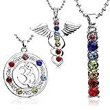 JOVIVI 7 Chakras Anhänger 3x Damen Kristall Glas 7 Stein Anhänger Glück Reiki Balancing Halskette Set Yoga Therapie Stil