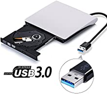 Grabadoras de Discos, FJOY Grabadora DVD-R CD-RW Externa Portátil DVD / CD USB 3.0 Reproductor para Aire de Apple Macbook Pro Sistema Operativo Windows 10 Samsung Destops a Enporter de Viaje con Cable USB Integrado, Negro