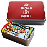 RED Keep Calm and Love Cricket Large Retro Sweet Tin 1726
