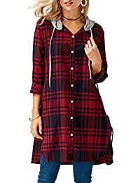 Longra Damen Karierte Bluse Langarm Oversize Hemd Button Longshirt Cardigan  Top Mit Kapuze Damenmode Freizeit Kariertes 70c5e1cb0e