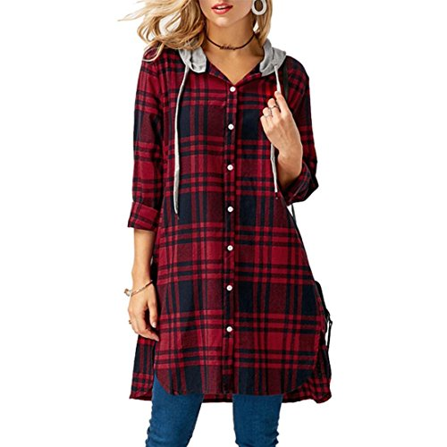 Longra Damen Karierte Bluse Langarm Oversize Hemd Button Longshirt Cardigan Top Mit Kapuze Damenmode Freizeit Kariertes Kleid Langarmshirt Hemdkleid Shirtkleid Blusenkleid Karo Kleid (Red, L) (Sleeve Plaid Button)