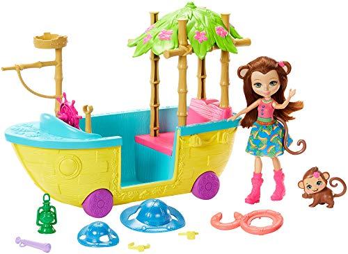 Dschungelwald Boot mit Äffchen Puppe und Tier, Puppen Spielzeug ab 4 Jahren ()