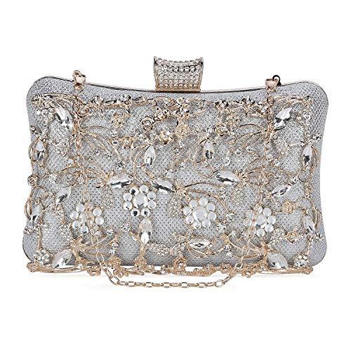 151f4a52a6 Selighting Donna Pochette Argento da Cerimonia Pochette da Sera Sacchetto  Elegante Borsetta da Sera Bling Diamante Fatto a Mano