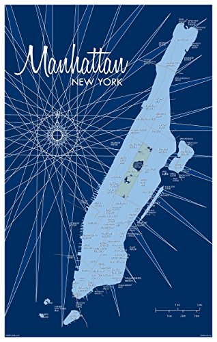 Manhattan Map Vintage Art Kunstdruck lakebound (30,5x 45,7cm).