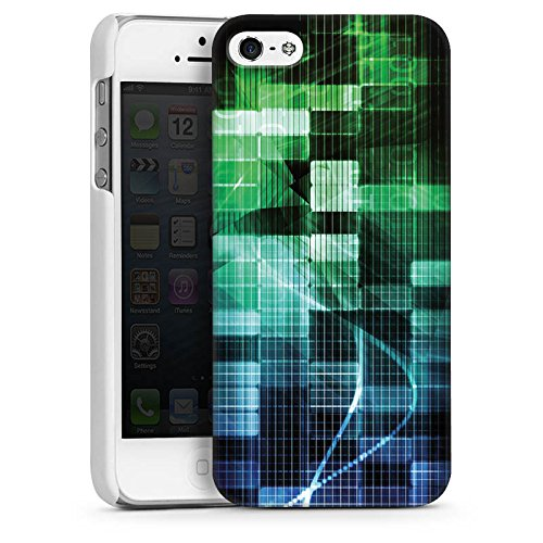 Apple iPhone 4 Housse Étui Silicone Coque Protection Carré Bandes Matrix CasDur blanc