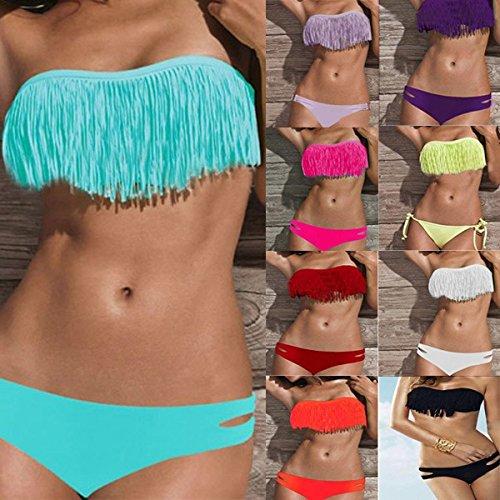 SSITG Damen Bikini Bikini mit Quast Bandeau Damen Bademode Tassel Bandeau Fringe Top BIKINI Bottom BEACH Swimsuit SWIMWEAR Gift Rose