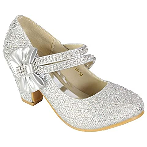 GIRLS WEDDING SHOES KIDS CHILDREN BRIDESMAID PROM DIAMANTE STARPPY MARY