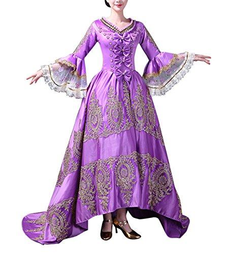 Damen Viktorianisches Kleid mit Krinoline Renaissance mittelalterliche Maxi Palace Royal Masquerade Kostüm (Violett, 32)