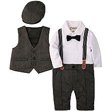 ZOEREA 3 pcs bébé garçon Vêtements Définit Bodys et Combinaisons Barboteuse  + Gilet + Chapeau Costume 8be53b6df76