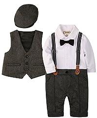 Idea Regalo - ZOEREA 3 pezzi Neonato Bambini pagliaccetto + gilet+ cappello Battesimo Compleanno Matrimonio