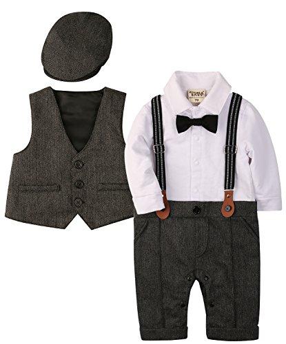 Zoerea 3tlg Baby Jungen Bekleidungssets Strampler + Weste + Hut Fliege Krawatte Anzug Gentleman Festliche Taufe Hochzeit Langarm Baby Kleikind für Frühling Herbst(Grau,Größe 60)