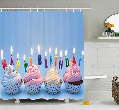 MLNHY Birthday Decorations Shower Curtain, Delicious Creamy Cupcakes with Letter Candles Sweet Celebration Theme, Fabric Bathroom Decor Set with Hooks, Blue,Size:60W X 72L Inche - Liner Daisy Cupcake