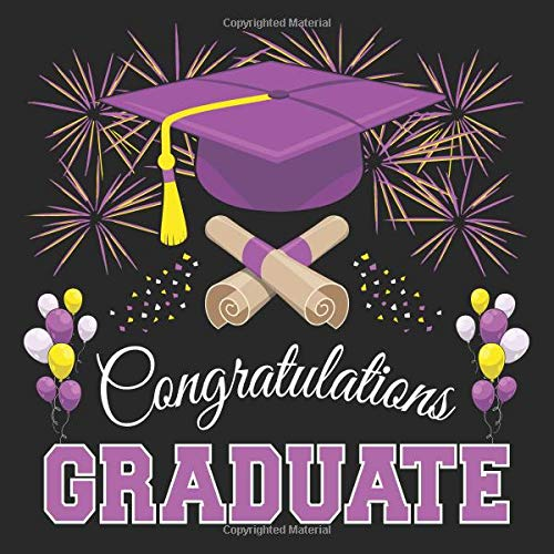 Graduation Guest Book: Congratulations Graduate GuestBook + Gift Log | Class of 2019 Graduation Party Memory Sign In Keepsake Journal | Black Purple Cover