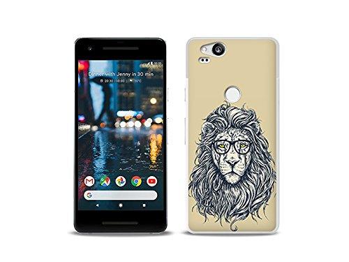 etuo Google Pixel 2 - Hülle Fantastic Case - Hipster Löwe - Handyhülle Schutzhülle Etui Case Cover Tasche für Handy