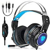Dxnbikt PS4 3.5 mm Wired Gaming Headset for PC Gaming Headset, Gaming Headphone with Mic, LED Light and Noise Cancelling Headphone for XBOX ONE Laptop Nintendo Switch/Smartphone blue
