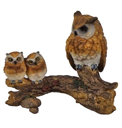 Eule mit 2 Baby Uhu Kauz Skulptur Deko Artikel Garten Tier Vogel Figur Statue (Figur Vogel Baby)