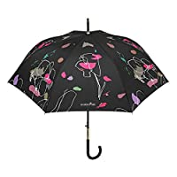 PERLETTI - Long Umbrella for Women - Automatic Opening - Chic and Elegant with Golden Details - Rhinestone on Handle - Stylized Floral Pattern