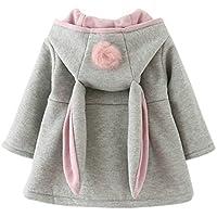 Gemini_mall Baby Girls Cute Rabbit Ears Cloak Hooded Autumn Winter Warm Coats Jackets Outerwear