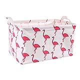 Watooma Watooma Leinwand Spielzeug Lagerung, Baumwolle Organizer Korb Kindergarten Hamper Wäschekorb Wasserdichte Aufbewahrungstasche (Flamingo)