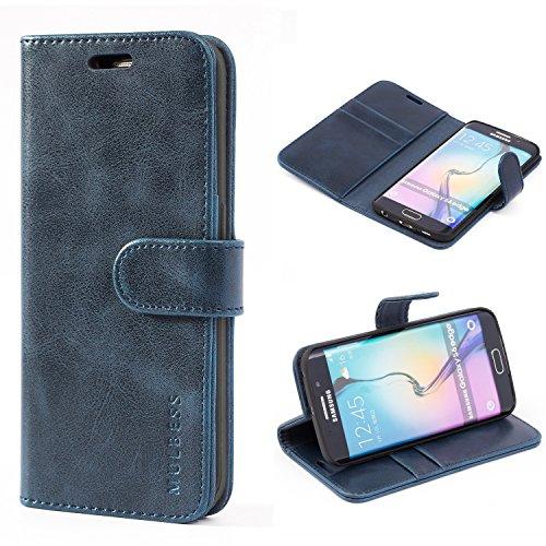 Mulbess Handyhülle für Samsung Galaxy S6 Edge Hülle, Leder Flip Case Schutzhülle für Samsung Galaxy S6 Edge Tasche, Dunkel Blau
