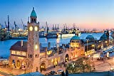 Hamburg Hafen Stadt Skyline City XXL Wandbild Foto Poster P0092 Größe 90 cm x 60 cm, Größe 90 cm x 60 cm