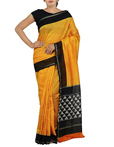 Unnati Silks Women Yellow Pochampally Ikat Printed Cotton Silk Saree with Blouse...