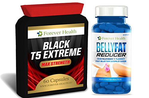 T5 BLACK EXTREME + BELLY FAT REDUCER * Stärkste Fatburner - Speziell Für Super Schnellen Gewichtsverlust Und Stoffwechsel Schub formuliert - 120 x Diätpillen - Gewicht Und Schlank Zu Verlieren Schnell Mit Diesen Sehr Starkes Abnehmen Tablette - Enthält GRUNER TEE (GREEN TEA) BLACK SOY BEAN Und Anderen Natürlichen Pflanzlichen Inhaltsstoffen Um Den Stoffwechsel Zu Erhöhen Und Gewicht Zu Verlieren Schnell + GRATIS Diät Plan - Extreme Fatburner Fettverbrennung Pillen