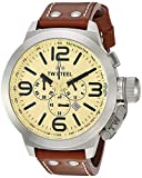 TW Steel Unisex Quartz Watch with Beige Dial Chronograph Display and Brown Leather Strap TW3