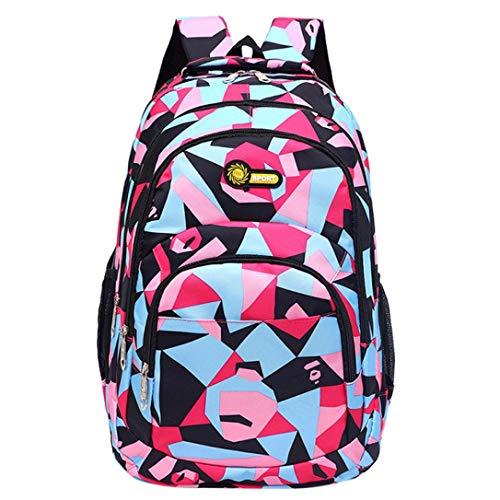Hevoiok Unisex Schulrucksack mit Reißverschluss Komfortable Bürdenreduzierung Backpack Camouflage Druck Schülertasche für Teenager Mädchen Jungen Schule (Rosa, 30 * 45 * 14cm)