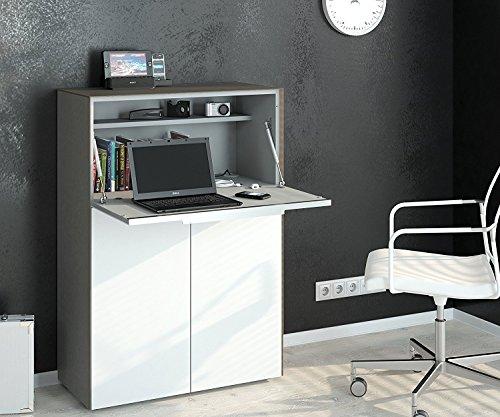 Schreibtisch Sekretär Laptop Tisch Computertisch Barschrank MAJA Glas sand matt / Weißglas matt 80x116x39,3cm