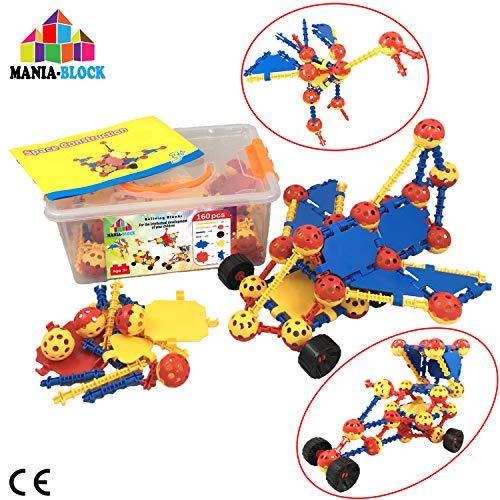 MANIA-BLOCK Bloques de construcción│ 160 pzs (Palos, esferas, Ruedas de Coche) + una Caja Fuerte de Almacenamiento | Juguete de construcción de ingeniería para niños de 3 4 5 6 7 8, 9 años| Gran