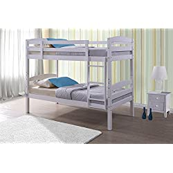 Happy Beds Chatsworth - Litera de madera acabado blanco moderno colchones Kids, Blanco, 3FT - Frame Only