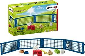 Schleich - Casa para Conejos y Cobayas con múltiples Funciones y Accesorios, Colección Farm World