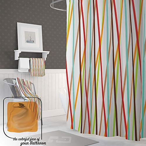EDLER Textil Duschvorhang 120 x 200 cm Bunte Streifen