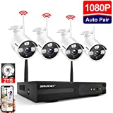 Kit Vidéo Surveillance Système de Caméra sans Fil,SMONET 8 CH Extensible 1080P NVR et 4 * 1080P Caméras avec 2 to Disque Dur, Vision Nocturne, Surveiller Facilement à Distance Via APP Gratuite