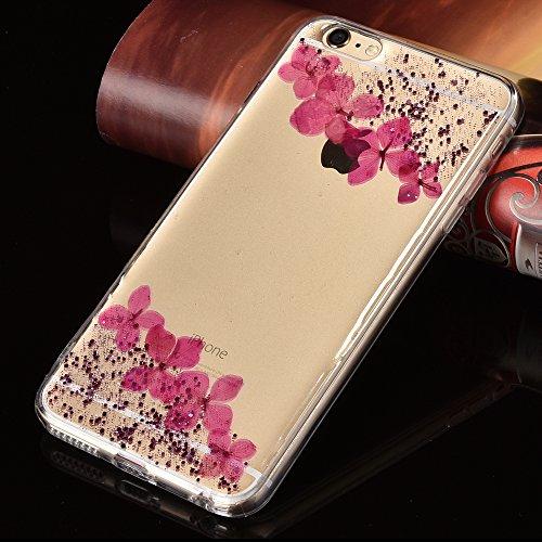 """Handyhülle für iPhone 6sPlus, Transparent Kristall CLTPY Ultra Hybrid 2 in 1 Weichsilikon & Hartplastik Schale Etui für iPhone 6Plus, Glitzer Frei Fließenden Flüssigkeit Treibsand Fall für 5.5"""" Apple  Rosa"""