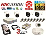 Hikvision 4 Ch Turbo HD Dvr and Mersk Full HD (3MP) CCTV Camera Kit with (All Required Accessories) Note : No Installation Service