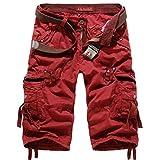 ZhuiKun Basic Vintage Cargo Shorts Herren Kurze Bermudas 3/4 Hose Rot 31