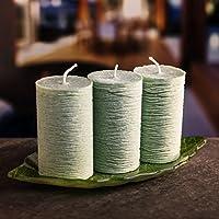 Juego de velas de decoración luz de vela romántica: 3 velas de diferentes colores con largo tiempo de encendido y base de vidrio decorativa en forma de hoja ...