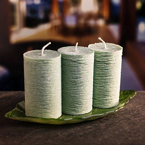 Juego de velas de decoración luz de vela romántica: 3 velas de diferentes colores con largo tiempo de encendido y base de vidrio decorativa en forma de hoja de palma - Velas bloque de cera de palma para cumpleaños, celebraciones y corona de Adviento