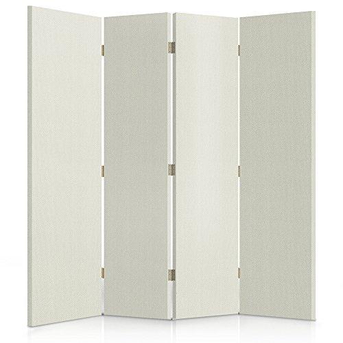 Feeby Frames, Los biombos de Tela, tabique Decorativo para Habitaciones, a Doble Cara, de 4 Piezas, 360° (145x180 cm), Tela, GLAMOROSO, Blanco