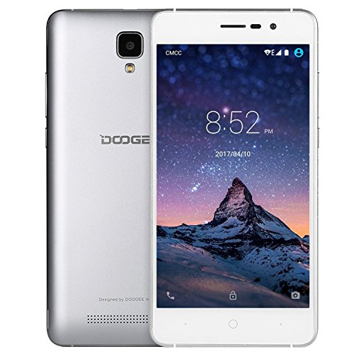 Smartphone ohne Vertrag, DOOGEE X10 Dual SIM Android 6.0 Handy, 5 Zoll HD Display, MT6570 Prozessor Cortex-A7@1.3 GHz, 3360mAh Grosse Kapazität Smartphones, 5.0MP Kamera with Flash, 8GB ROM - Silber