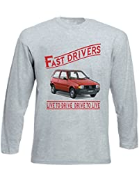 TEESANDENGINES FIAT UNO Fast Drivers Tshirt de Manga Larga Gris para Hombre