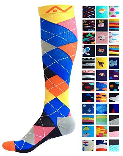 A-Swift Kompressions-Socken, Verlaufsfilter, sportliche Passform, für Laufsport/Krankenschwestern/Flugreisen/Skifahren/Mutterschaft/Schwangerschaft/Krampfadern/ für mehr Ausdauer und eine schnelle Erholung, 1 Paar, Ardent Argyle, S/M
