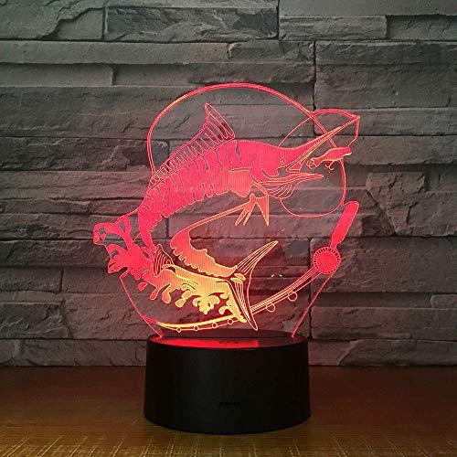 Angeln 3D Led Licht Stereo Acryl Nachtlampe Fisch Essen Köder Stimmung Beleuchtung 7 Farben Ändern Illusion Geburtstagsgeschenk Kinder Spielzeug -