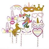 DDG EDMMS Accesorios de fotomatón Unicornio Feliz cumpleaños Accesorios de Bricolaje Photocall Máscaras Gafas en palitos Decoraciones de Fiesta