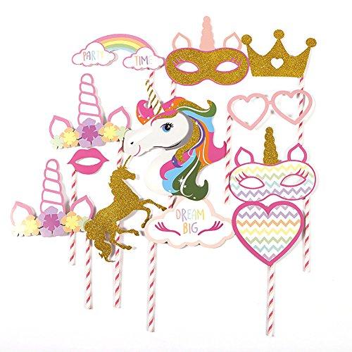 JER Lustige Party Dekoration Photo Booth Requisiten Happy Birthday Party Dekoration Kinder Glitter Baby Dusche Foto Requisiten Halloween Weihnachten Geschenk Set (Einhorn)
